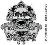 gothic coat of arms with skull  ...   Shutterstock .eps vector #1055332499