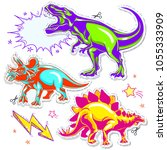 set of vector dinosaurs. vector ... | Shutterstock .eps vector #1055333909