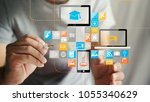 application icons interface on... | Shutterstock . vector #1055340629