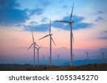 group of wind turbines in... | Shutterstock . vector #1055345270
