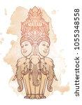statue representing trimurti  ... | Shutterstock .eps vector #1055348558