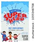 superhero  invitation card ...   Shutterstock .eps vector #1055348708