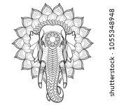 elephant head on lotus mandala. ... | Shutterstock .eps vector #1055348948