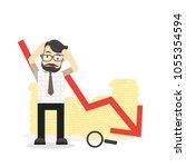 business fail. graph down... | Shutterstock .eps vector #1055354594