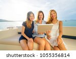 technology and vacation. luxury ... | Shutterstock . vector #1055356814
