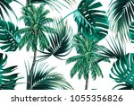 palm trees  tropical leaves ... | Shutterstock .eps vector #1055356826