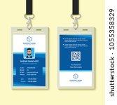 blue employee id card design... | Shutterstock .eps vector #1055358329