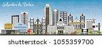 salvador de bahia city skyline... | Shutterstock .eps vector #1055359700
