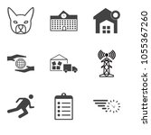 set of 9 simple editable icons... | Shutterstock .eps vector #1055367260