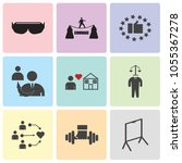 set of 9 simple editable icons... | Shutterstock .eps vector #1055367278