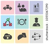 set of 9 simple editable icons... | Shutterstock .eps vector #1055367290