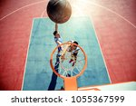 high angle view of basketball...   Shutterstock . vector #1055367599