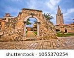 old stone landmarks of porec ... | Shutterstock . vector #1055370254