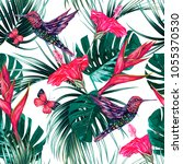 tropical seamless pattern... | Shutterstock .eps vector #1055370530