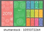 calendar 2019 colorful hand... | Shutterstock .eps vector #1055372264