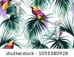 tropical seamless vector floral ... | Shutterstock .eps vector #1055380928