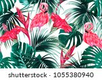 floral seamless vector tropical ... | Shutterstock .eps vector #1055380940