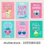 summer hand drawn motivation... | Shutterstock .eps vector #1055384183