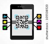 qr code on the smart phone | Shutterstock .eps vector #105538520