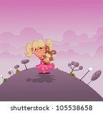 cartoon girl holding teddy bear ... | Shutterstock .eps vector #105538658