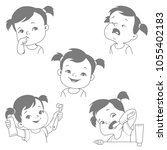 baby teeth set. baby girl with... | Shutterstock .eps vector #1055402183