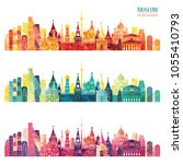 moscow detailed skyline. travel ... | Shutterstock .eps vector #1055410793