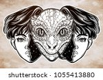 portriat of the reptilian alien ... | Shutterstock .eps vector #1055413880