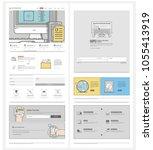 website template for agency or... | Shutterstock .eps vector #1055413919