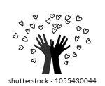 hand releasing into the sky of...   Shutterstock .eps vector #1055430044