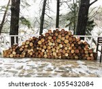 firewood for the winter  stacks ... | Shutterstock . vector #1055432084