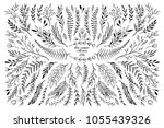 hand sketched vector floral... | Shutterstock .eps vector #1055439326