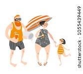 happy family with little girl... | Shutterstock .eps vector #1055439449