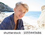 beautiful teenager tourist male ... | Shutterstock . vector #1055445686
