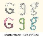 doodle hand drawn alphabet in... | Shutterstock .eps vector #105544823