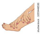 female legs barefoot with hands ... | Shutterstock .eps vector #1055448530