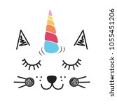 cute cat unicorn illustration ... | Shutterstock .eps vector #1055451206