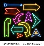 neon glowing arrow pointer set  ... | Shutterstock .eps vector #1055452139