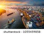 logistics and transportation of ... | Shutterstock . vector #1055459858
