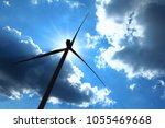 silhouette wind turbine... | Shutterstock . vector #1055469668