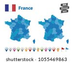 france   high detailed map with ... | Shutterstock .eps vector #1055469863