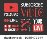 play  subscribe  video  follow... | Shutterstock .eps vector #1055471399