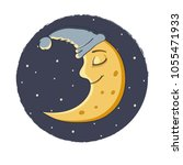 illustration a sleeping moon.... | Shutterstock .eps vector #1055471933