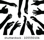 Silhouettes Of Hands 2. Vector
