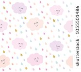 kawaii clouds and drops... | Shutterstock .eps vector #1055501486