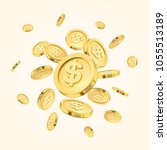 realistic gold coin explosion... | Shutterstock .eps vector #1055513189