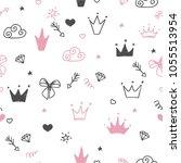 hand drawn seamless pattern... | Shutterstock .eps vector #1055513954