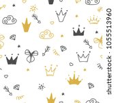 hand drawn seamless pattern... | Shutterstock .eps vector #1055513960