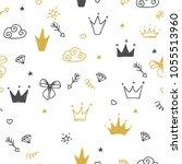 hand drawn seamless pattern... | Shutterstock .eps vector #1055513960