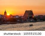 bangkok sunset at chao phraya... | Shutterstock . vector #1055515130