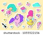 set of cute stickers with...   Shutterstock .eps vector #1055522156